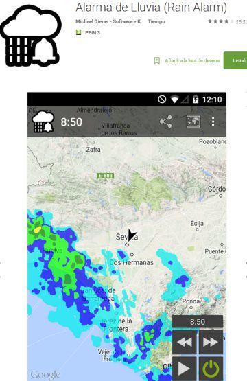 La aplicación meteorológica RainAlarm avisa en tiempo real de precipitaciones que se estén acercando al lugar en el que se encuentra el usuario.