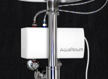 Este sistema cuenta con un sensor que mide la temperatura del agua desde el momento en el que se abre el grifo y si ésta llega fría es devuelta por Aqua Return a la tubería de agua fría. Cuando por fin llega caliente, el dispositivo emite un sonido de alerta y automáticamente da paso a ella en el grifo.