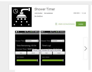Shower Timer permite programar el tiempo que queremos permanecer en la ducha.