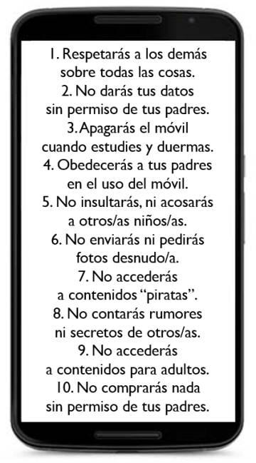 Los 'diez mandamientos' del móvil para los niños, según el autor.