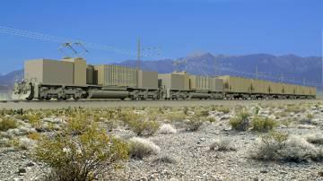 Las vagonetas empieza a producir electricidad conforme la gravedad hace descender sus 230 toneladas de cemento y de rocas.