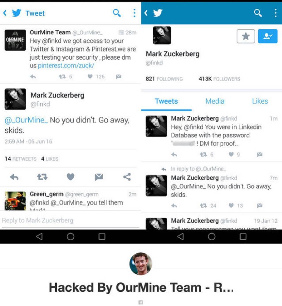 Captura de pantalla de los mensajes de los hackers OurMine y la respuesta de Mark Zuckerberg. Abajo, el nombre que le han puesto a la cuenta de Pinterest del fundador de Facebook.