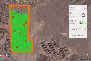 Mapa con la identificación de varias minas que rastrea el dron.
