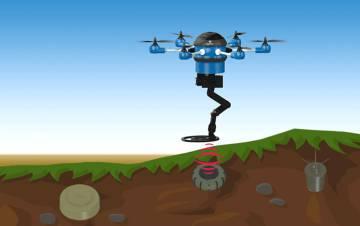 Dibujo explicativo de cómo el dron extrae las minas de la tierra.