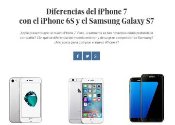 Diferencias del iPhone 7 con el iPhone 6S y el Samsung Galaxy S7