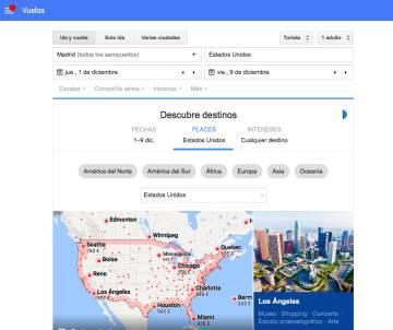 Captura de pantalla de Google Flights, la herramienta para comprar billetes de avión.