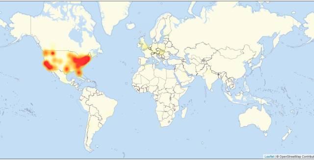 Mapa con los puntos del planeta con problemas, según la web especializada Downdetector.