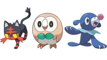 Tres de las nuevas criaturas: Litten, Rowlet y Popplio.