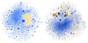 La desinformación (amarilla marrón) se extiende dentro de la red Izquierda: las conspiraciones de los chemtrails se mezclan con conversaciones sobre el cielo. Derecha: las campañas antivacunas penetran en las discusiones sobre la gripe.