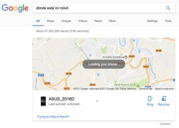 Sistema para localizar el móvil en Android.