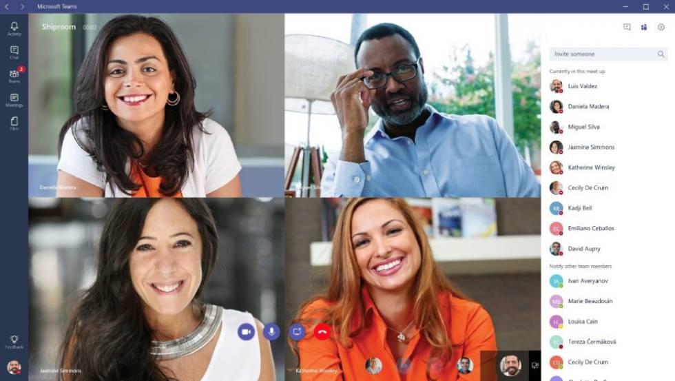 Ejemplo de videollamada en grupo en Teams de Microsoft.