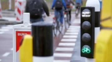 El semáforo de carril bici de Róterdam.