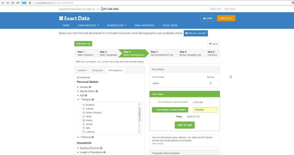 Venda de dados do ExactData.com na internet. Na imagem, vê-se uma seleção por religião, a quantidade de pessoas que oferecem dados para essa compra, 1,8 milhão, e o preço: 140.277 dólares.