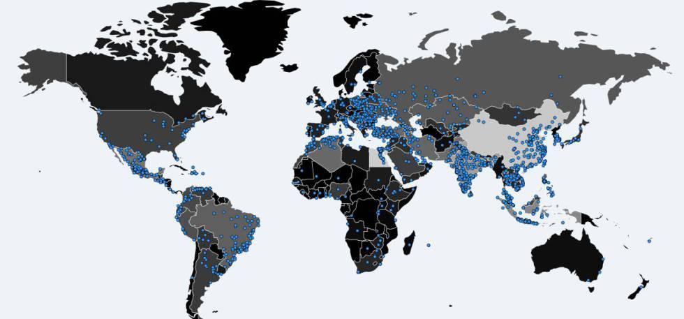 Mapa de Malware Tech con los sitios en los que se ha detectado el virus informático.