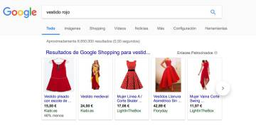 Captura de pantalla del servicio Google Shopping.