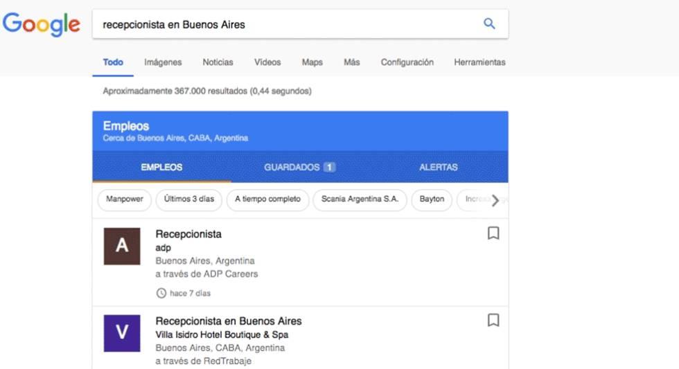 Google ahora muestra ofertas de empleo en su buscador