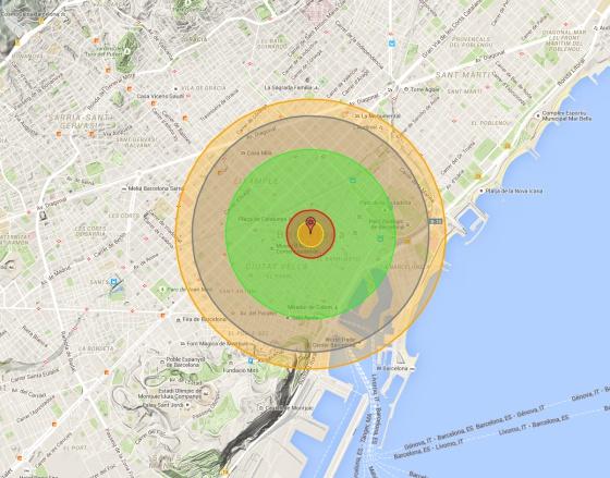 ¿Cuál sería el alcance de la bomba de Hiroshima en tu ciudad?