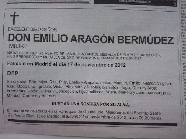 Esquela de Miliki en 'El País'