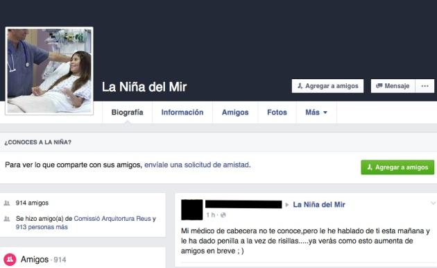 Captura del perfil falso de Sofía, la niña del MIR que quiere agregar a su médico.