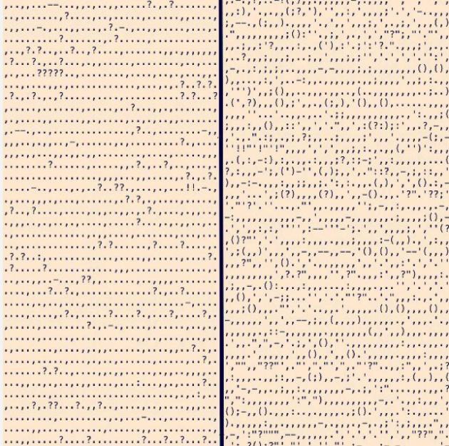 La puntuación de 'Meridiano de sangre', de Cormac McCarthy (izquierda) y de 'Absalom, Absalom', de William Faulkner