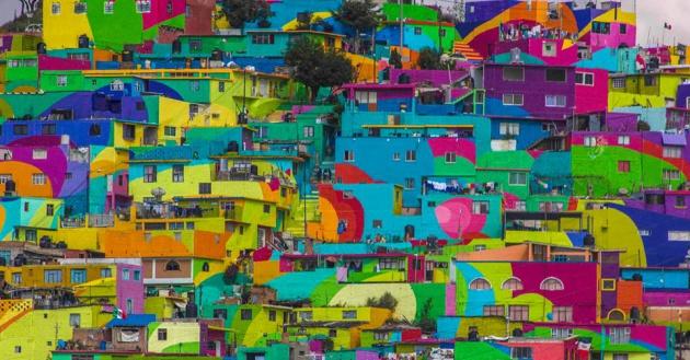 El macro mural de Las Palmitas, Pachuca. Cortesía Germen Nuevo Muralismo