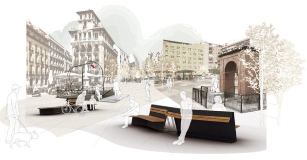 Otro modelo de bancos para sentarse en la ciudad es for Ejemplos de mobiliario urbano