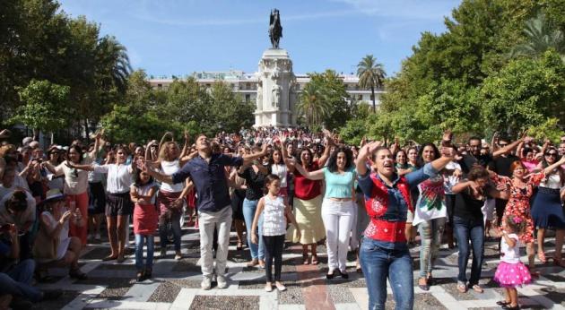 Un 'flashmob' en Sevilla, en 2014.