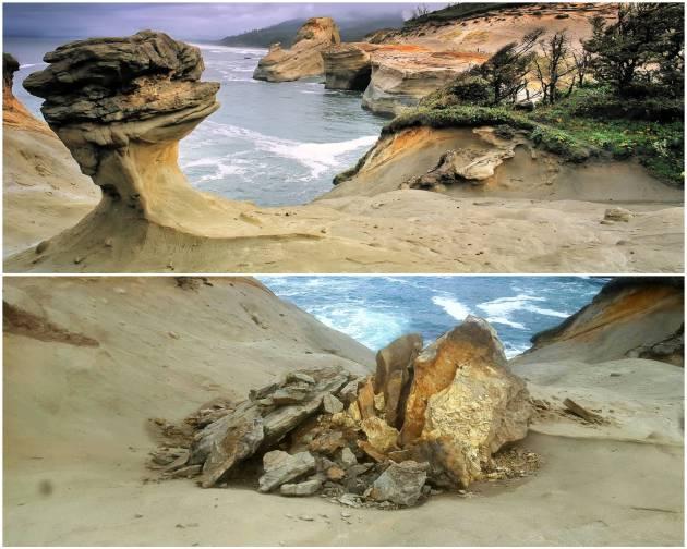 Un v deo capta el derrumbe de una ic nica roca de ee uu for Formacion de la roca