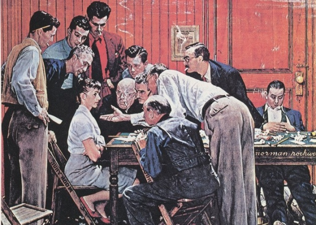 'The Holdout', de Norman Rockwell (fragmento)