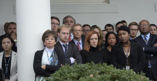 El equipo de Obama en el Rose Garde de la Casa Blanca