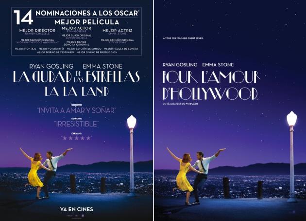 Título de 'La La Land' para España (izquierda) y la región francoparlante de Canadá (derecha)