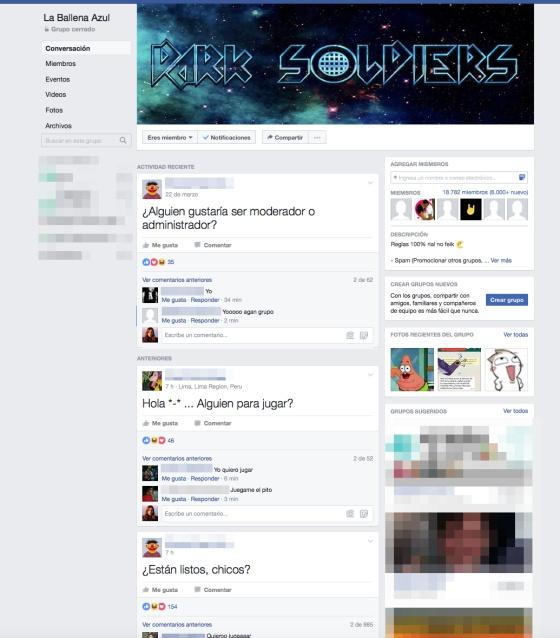 ballena azul grupo facebook