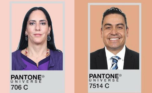 Los tonos de piel de los diputados Lía Limón (Partido Verde) y Octavio Íñiguez (PAN), basado en el análisis de Santurio con la gama de colores Pantone