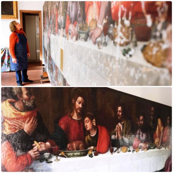 Acima, Rosella Lari nos primeiros instantes da restauração da 'Última Ceia' de Plautilla Nelli. Abaixo, a obra quase pronta para ser exposta.