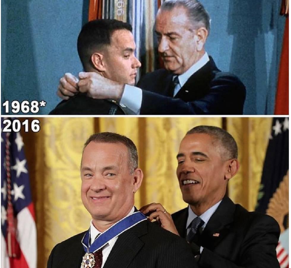 Tom Hanks transforma em realidade uma das cenas de 'Forrest Gump'