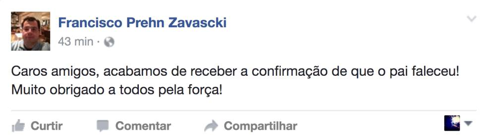 Post do filho de Teori Zavascki no Facebook.