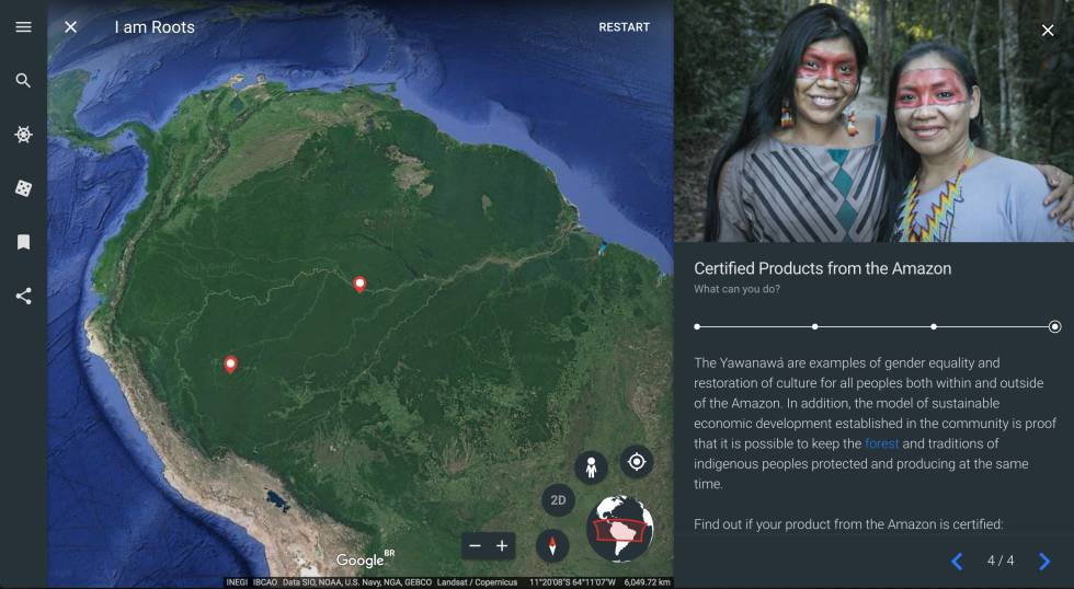 Captura da tela da plataforma 'Eu sou Amazônia' do Google Earth.