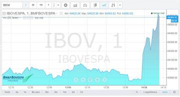 Principal índice da Bolsa de Valores de São Paulo disparou após notícia.