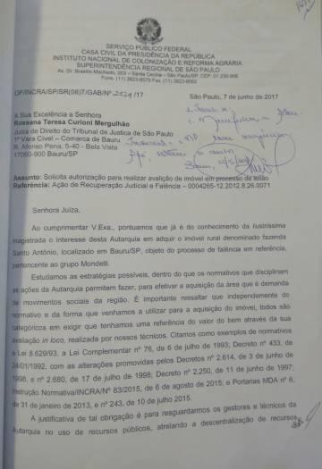 Em ofício de 7 de junho de 2017, superintendente-substituto do Incra em São Paulo oficializa intenção de compra de fazenda exigida por invasores