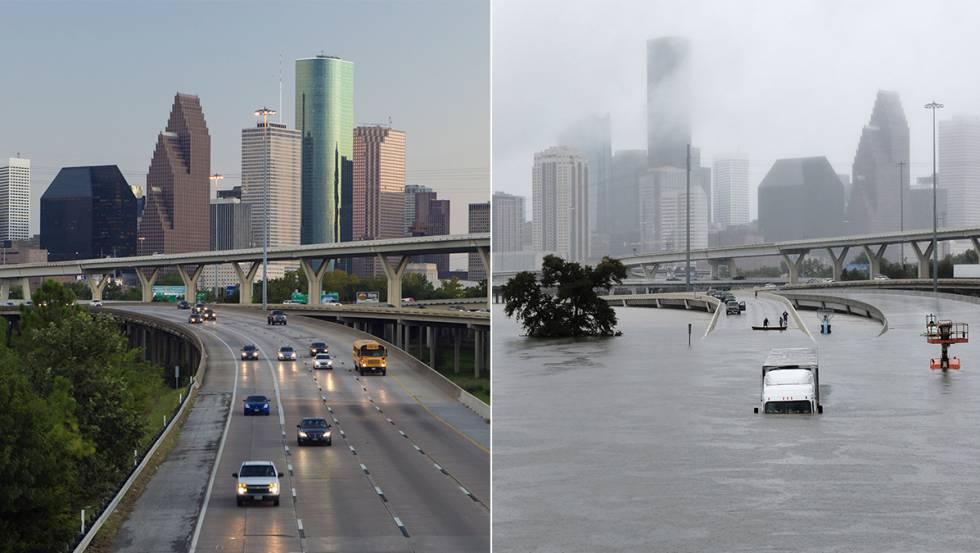 A rodovia 45 de Houston, antes e depois do 'Harvey'