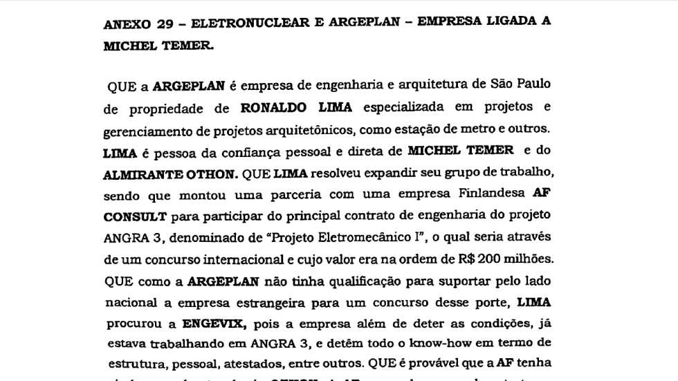 Em proposta de delação premiada, Antunes também conta como amigo de Temer conseguiu contrato em Angra 3 para a Engevix. Antunes confundiu o primeiro nome de Lima, que, na verdade, é João