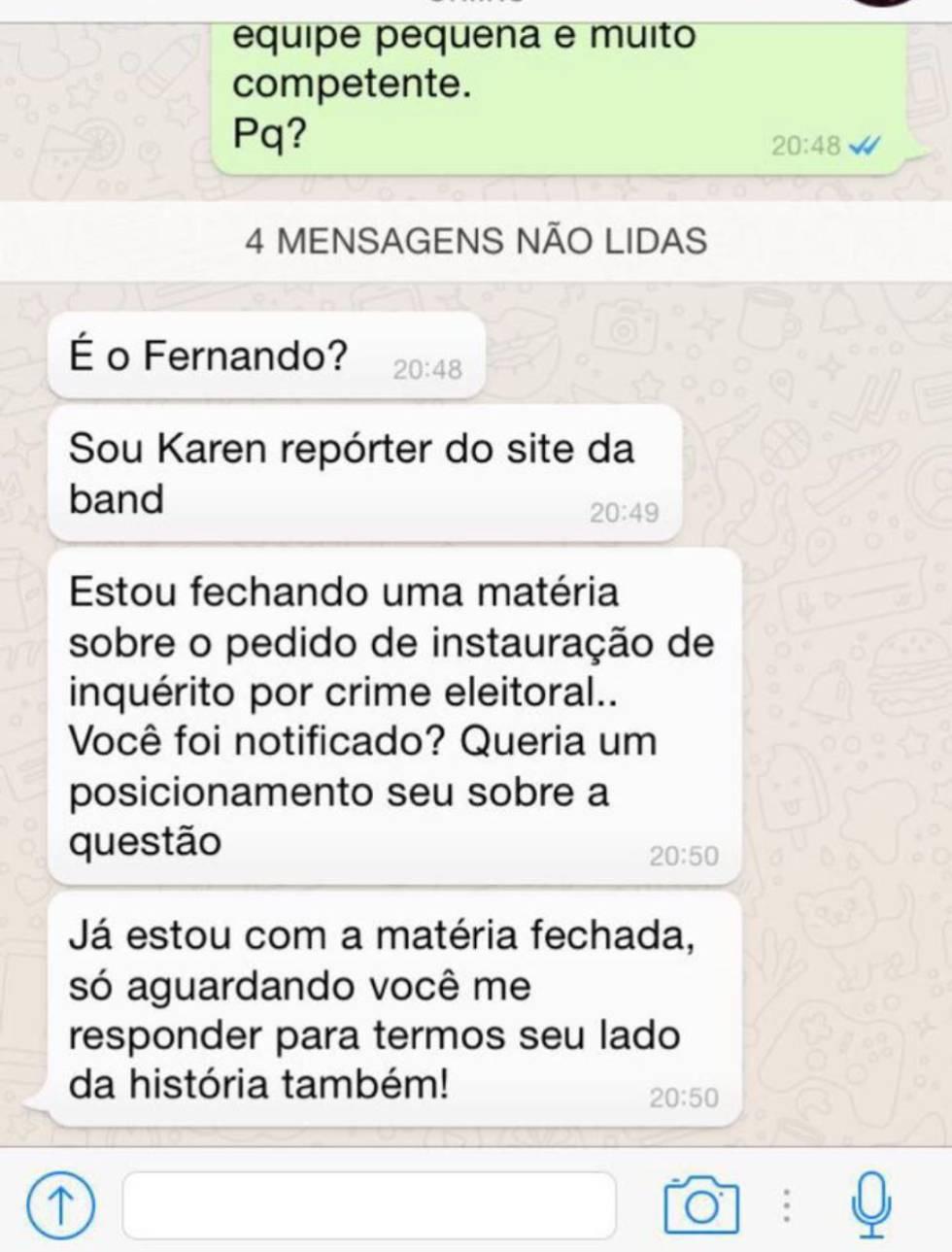 Diálogo entre Tatiane Carvalho e repórter, que pensava estar conversando com Holiday.