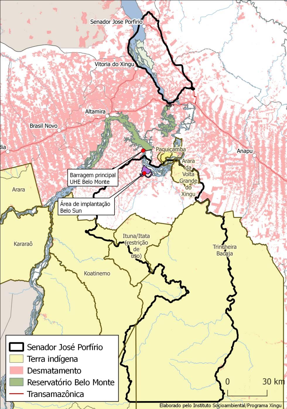 Mapa da região sudoeste do Pará.