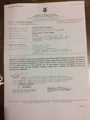 Reprodução do Boletim de Ocorrência feito por Zelma Campos.