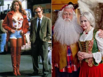 Mira Sorvino e Woody Allen na gravação de 'Poderosa Afrodite' (1996) e no filme para televisão 'Procurando a Sra. Claus' (2012).