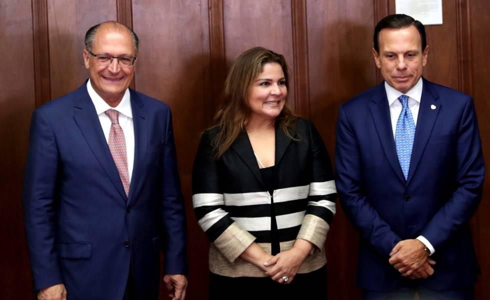 Alckmin, directora del Fórum Económico Mundial para América Latina, Marissol Argueta de Barillas y Joao Doria.