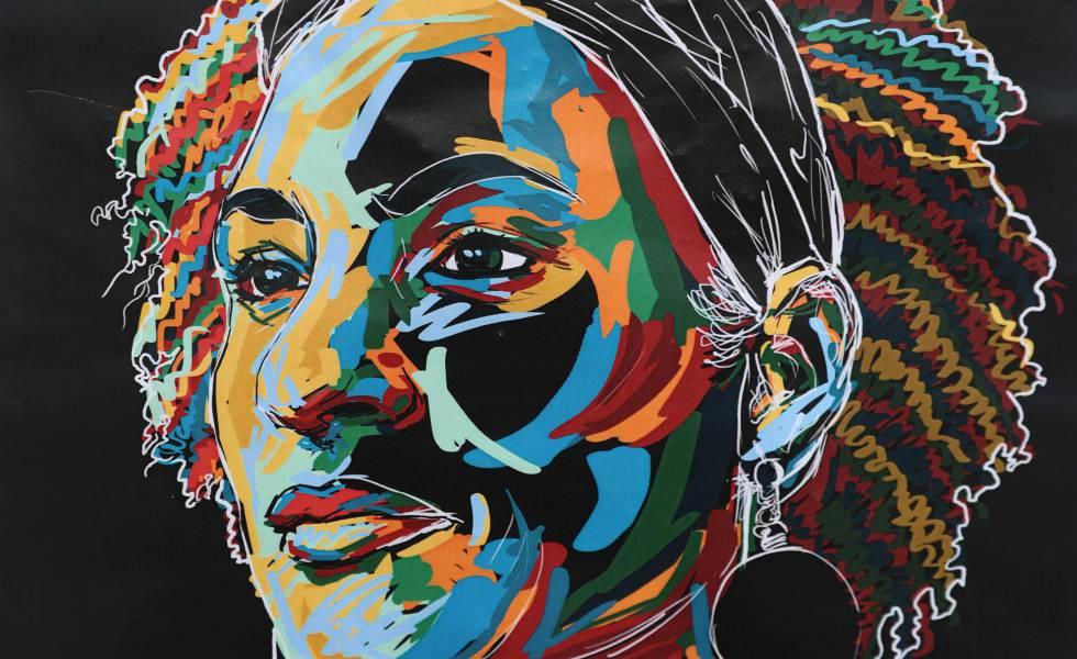 Ilustração de Marielle Franco em muro do Rio de Janeiro.