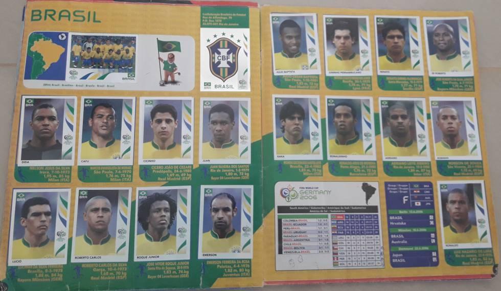 Roque Júnior, Julio Baptista y Renato están en el álbum de la Copa de 2006, pero no fueron convocados al Mundial.