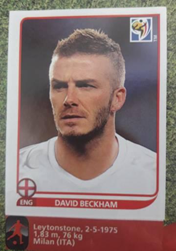 Beckham fue uno de los errores del álbum de la Copa de 2010.