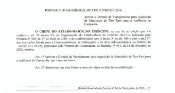 Parte da portaria que oficializa a necessidade de um simulador para o Brasil, de junho de 2010.
